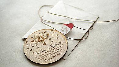 Papiernictvo - Drevené gravírované svadobné oznámenie Katka - 6961167_