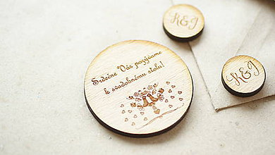 Papiernictvo - Drevené pozvanie k svadobnému stolu Katka - 6962152_