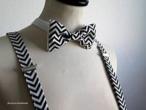 Doplnky - set pánsky motýlik a traky - nesmrteľná black&white kombinácia - 6960893_