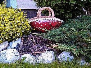Dekorácie - Košíček červený s bielymi bodočkami - 6963431_