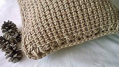 Úžitkový textil - Háčkovaný vankúš BEIGE - 6960765_