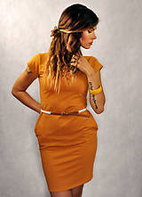 Šaty - Jednoduché šaty s vreckami - Kurkumové - 6962120_