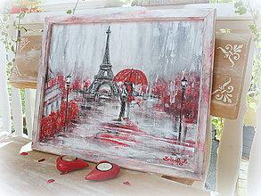 """Obrazy - Obraz na stenu-malba vo Vintage ráme """"Romance in Paris"""" :) - 6963021_"""