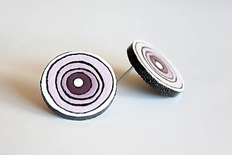 Náušnice - maľované náušnice - fialové kruhy - 6962435_