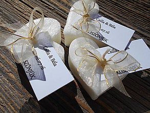 Darčeky pre svadobčanov - sviečky pre hostí /široká stuha/zlatá - 6963268_