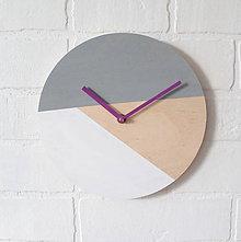 Hodiny - Nástenné hodiny Sivo-biele - 6964377_