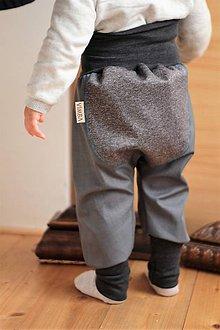 Detské oblečenie - Softshellky šedo-šedé tenké - 6964099_