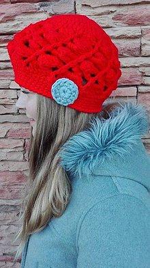 Čiapky - Háčkovaná čiapka v jasno červenej - 6964154_