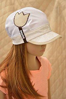 Detské čiapky - šiltovka Tulipán  white&creme - 6965889_