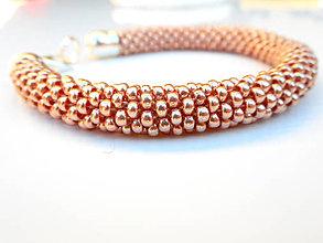 Náramky - SNAKE rose gold - výrazné korálkové náramky - 6965574_