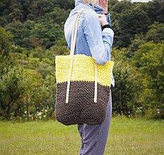 Veľké tašky - Špagátová taška žlto-hnedá - 6967233_