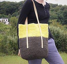 Veľké tašky - Špagátová taška žlto-hnedá - 6967235_