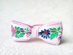 Ozdoby do vlasov - Slovak folklore hair bow (pink/white) - 6968505_