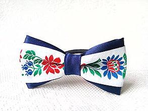 Ozdoby do vlasov - Slovak folklore hair bow (white/royal blue) - 6968511_