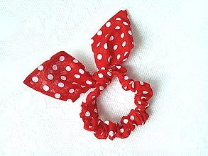 Ozdoby do vlasov - Mini Karkulka scrunchie (red/white polka dots) - 6968542_