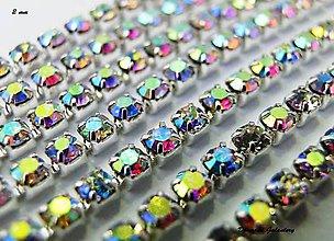 Galantéria - Štrasová borta AB color - 2 mm - cena za 10 cm - 6967647_