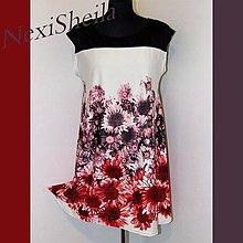Šaty - Ružovo červeno čierne šaty s bordúrou - 6966604_