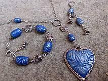 modrá sada - náušnice, náramok a náhrdelník z polyméru