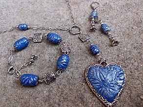 Sady šperkov - modrá sada - náušnice, náramok a náhrdelník z polyméru - 6967541_