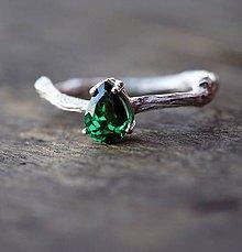 Prstene - Vetvičkový prsteň strieborný so zirkónom alebo polodrahokamom, drahokamom  - 6969205_