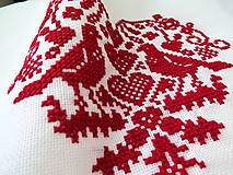 Úžitkový textil - výšivka ľudový motív srdiečko a holúbky - 6968844_