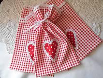 Úžitkový textil - Kárované červené vrecúška - 6968927_