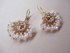 Náušnice - náušnice vejáriky bielo-zlaté - 6972977_