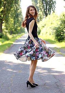Sukne - Kruhová vzorovaná sukňa spevnená tylom - 6973051_