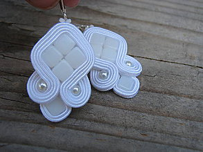 Náušnice - Simple White 3...soutache - 6970917_