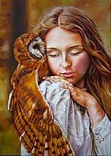 Obrazy - Dievča so sovičkou - olej na plátne - 6970490_