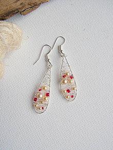Náušnice - náušnice červené s perličkami - 6975029_