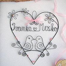 Dekorácie - srdiečko ❤ svadobné v ružovom - 6975071_