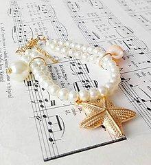 Náramky - Seashells & Gold Bracelet / Náramok s mušľami a perličkami - 6975326_