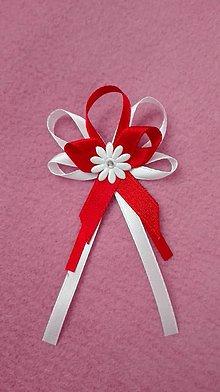 Pierka - Červenobiele svadobné pierko pre rodičov - 6976305_