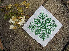 Odznaky/Brošne - Vyšívaná brošňa - zelená - 6973845_