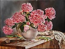 Obrazy - Pivónie - olej na plátne - 6974986_