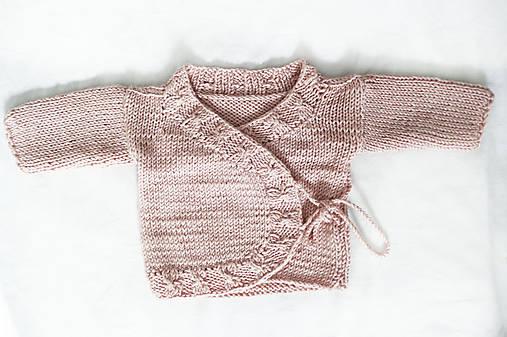 d965066a9 Pletený svetrík pre bábätko. Ružový pletený kabátik. Kabátik pre dievčatko.  Detský svetrík 0