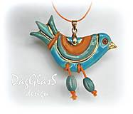 Náhrdelníky - keramický prívesok - vtáčik pestrý - 6974316_