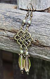 Náušnice - Dlhé sklenené náušnice - bronzovo-zlaté - 6973708_