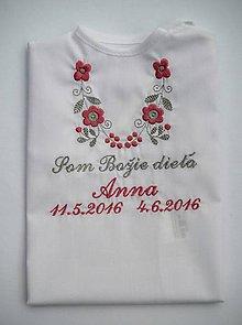 Detské oblečenie - Košieľka na krst K14 ružovo-šedá (Odoslanie do 3 pracovných dní) - 6975934_