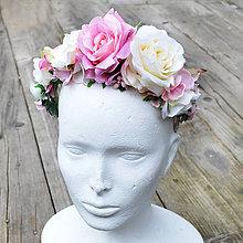 Ozdoby do vlasov - Zľava!Parta-čelenka z ruží a hortenzií v ružových odtieňoch - 6979429_