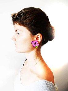 Náušnice - fialkové flowers - 6977382_