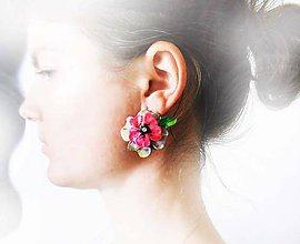 Náušnice - zapínacie náušnice flowers - 6977413_