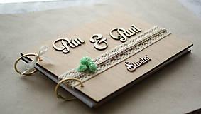 - Svadobná kniha hostí drevo a tyrkys - 6978375_