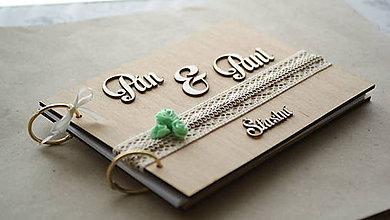 Papiernictvo - Svadobná kniha hostí drevo a tyrkys - 6978375_