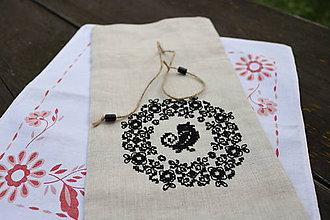 Úžitkový textil - vrecúško Black Bird - 6976636_