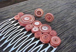 Iné šperky - Hrebeň do vlasov a náušničky v odtieňoch mokka - 6978916_