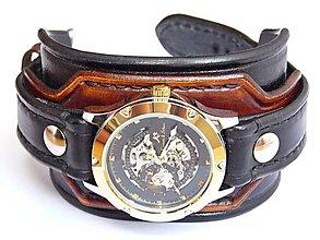 Šperky - Hnedo čierny kožený remienok s hodinkami KS - 6976617_
