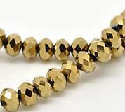 Sklenené korálky zlaté brúsené 6x4,5mm