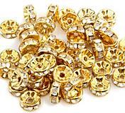 Zlatá rondelka so štrasovými kamienkami